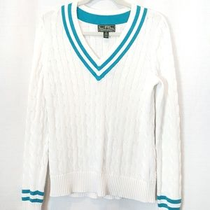 Ralph Lauren Active   White Cable Knit Sweater